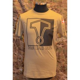 MLV - Major League Viking T-shirt med Hammer og Dannebrog, MTS-Khaki