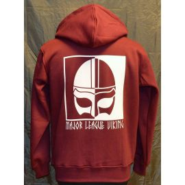 Major League Viking - Hoodie med Hjelm, Bordeaux/Hvid