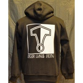 Major League Viking - Hoodie med Thors Hammer, Sort/Hvid