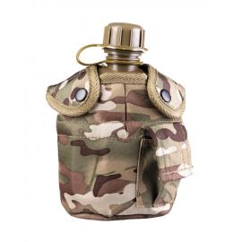 MIL-TEC - US Feltflaske med  hylster, Multicamouflage/oliven