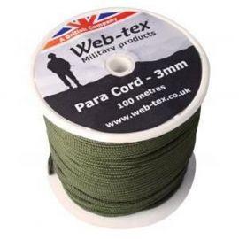 WEB-TEX - 100m Para Cord, 3mm, grøn
