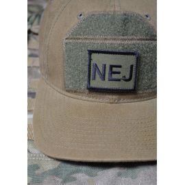 Patch til NEJ Hatten - Sort/Oliven - med velcro