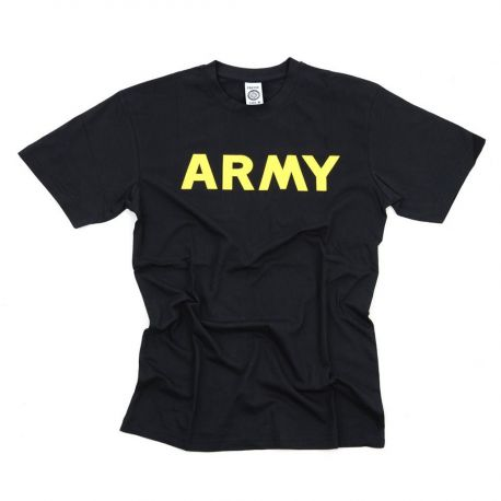 "T-shirt ""ARMY"", sort/gul"