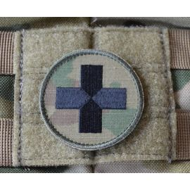 Red Cross, round - MultiCam on velcro