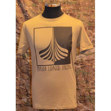 Major League Viking T-shirt med Skib og Dannebrog, MTS-Khaki