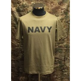 RAVEN - T-shirt, MTS-khaki - med NAVY tryk