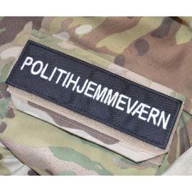 POLITIHJEMMEVÆRN ærmemærke, sort/hvid på velcro