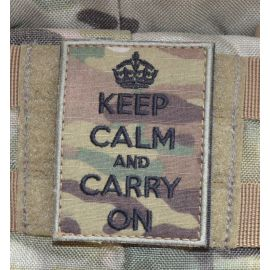 KEEP CALM and CARRY ON Patch - MultiCam med velcro