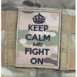 KEEP CALM and FIGHT ON Patch - MultiCam med velcro