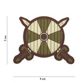 Viking Skjold og Sværd PVC Patch, Brun/grøn