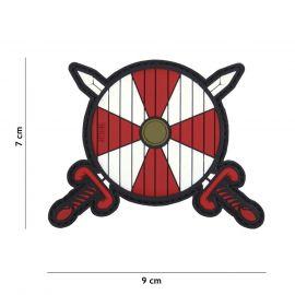 Viking Skjold og Sværd PVC Patch, Rød/Hvid