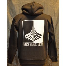 Major League Viking - Hoodie med Skib, Sort/Hvid