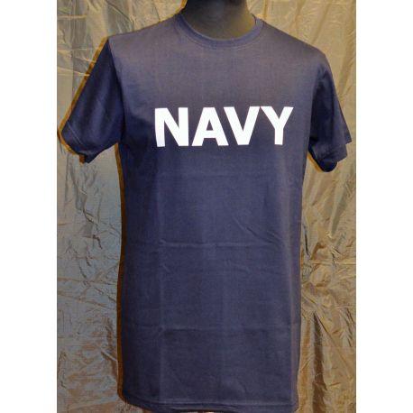 RAVEN - T-shirt, Marineblå med NAVY tryk på bryst