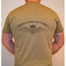 RAVEN - T-shirt, MTS-khaki - med ROYAL DANISH AIR FORCE og vinge tryk på ryg