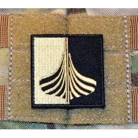 Langskib Patch - Sort/Khaki, 5X5cm