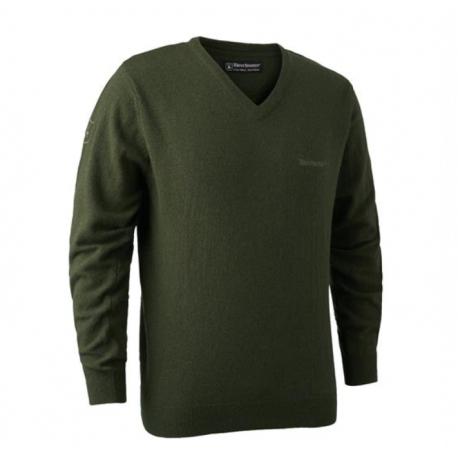 Deerhunter - Brighton Knit V-Neck. Grøn