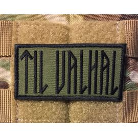 TIL VALHAL Patch, 8cm X 4cm, Sort/oliven